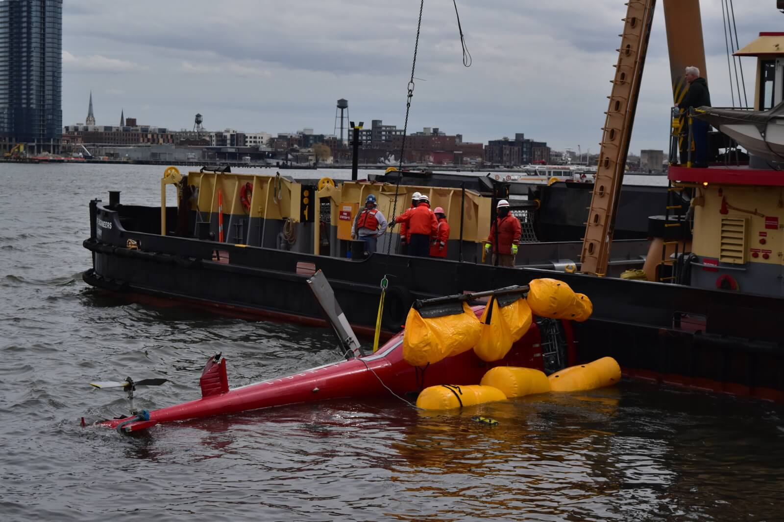 The accident helicopter was recovered from the East River on March 12. NTSB Photo