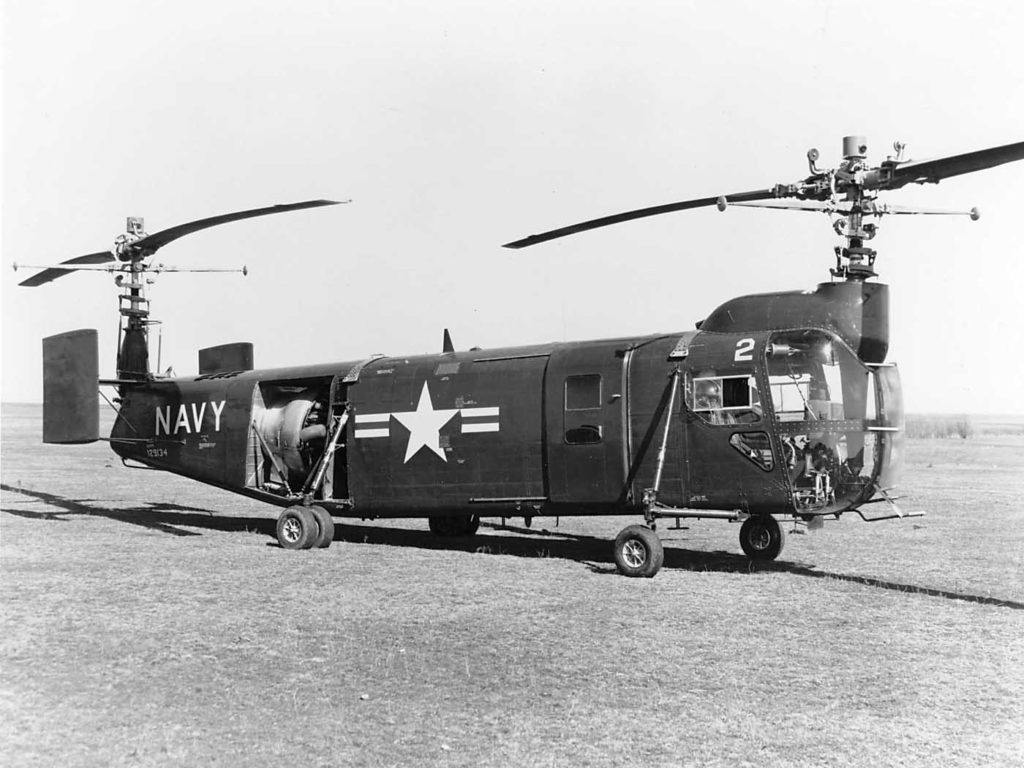 XHSL-1 ship 2 was a pre-production experimental anti-submarine warfare helicopter. It was eventually retired from service in 1957. Jeff Evans Collection Photo