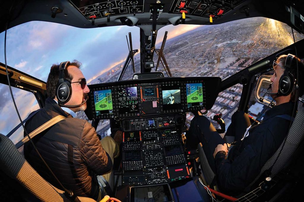 Here, the display from the wide-angle camera on the vertical fin of the H160 is shown on the second screen from the right. Mike Reyno Photo