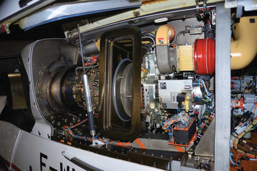 The Safran Arrano uses two centrifugal compressor stages without any bleed valves. To maintain optimum combustion temperatures, flow is instead controlled through a VIGV system. Mike Reyno Photo