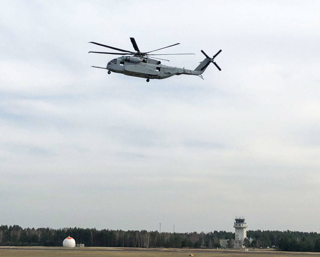 The CH-53K King Stallion flying its first flight on foreign soil at Holzdorf Air Base. Lockheed Martin Photo