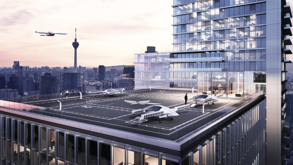 The two-seater Lilium Jet requires only a small open space or landing pad atop a building to take off and land. Lilium GmbH Photo
