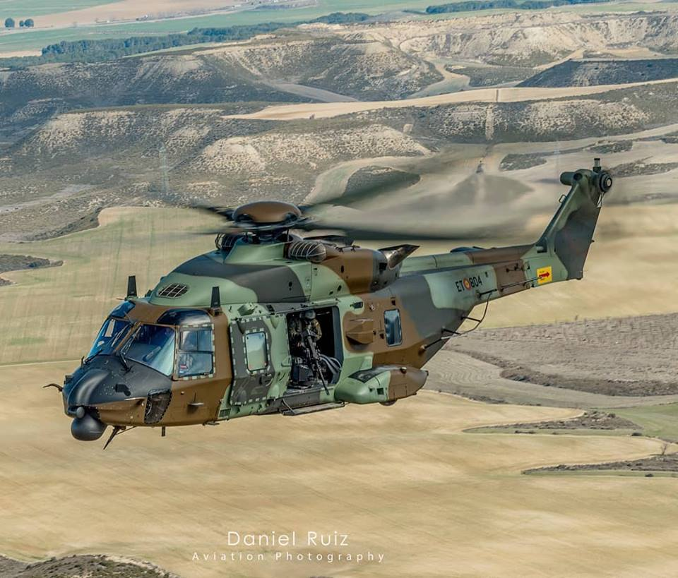A Spanish Army NH90 flies in camouflage. Photo submitted by Daniel Ruiz (Instagram user @_danielruiz_) using #verticalmag