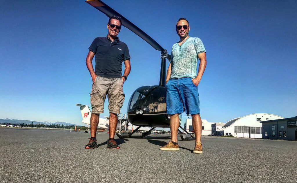 Ruben Dias (left) will be flying the R66 helicopter, along with the president of BC Helicopters, Mischa Gelb. BC Helicopters Photo