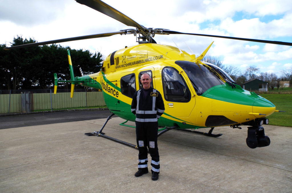 Backus has been a helicopter pilot for 19 years and has flown 3,400 hours. Wiltshire Air Ambulance Photo