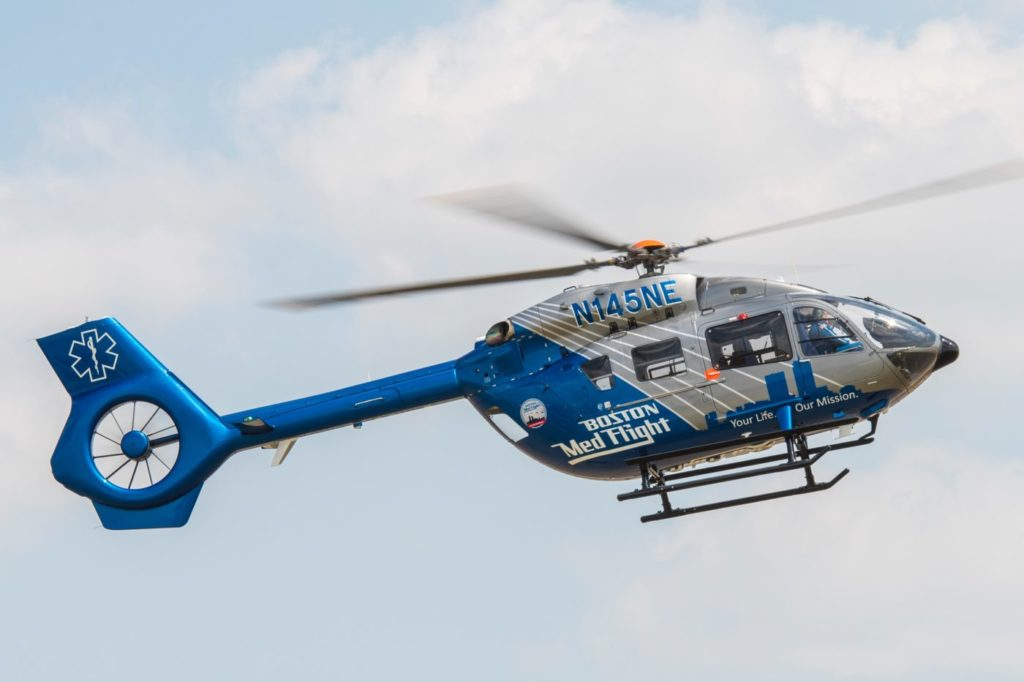 """From a safety perspective, the H145 is a great addition to our fleet,"" said Charles Blathras, chief operations manager for Boston MedFlight. Jay Miller Photo"