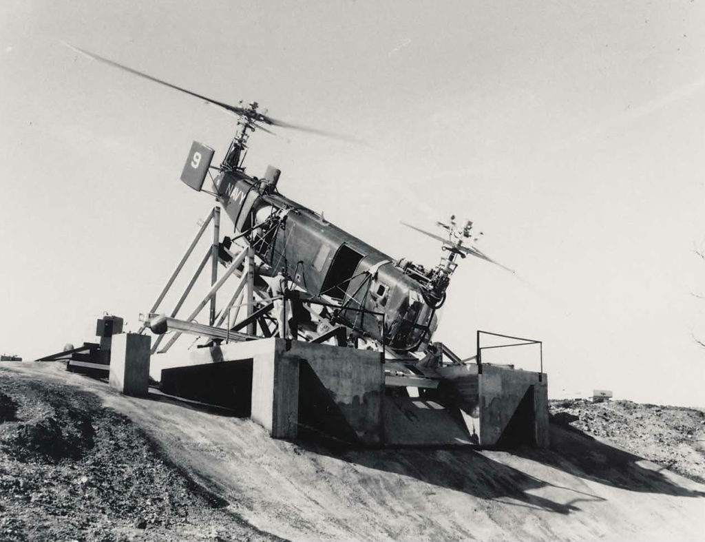 HSL-1 ship 9 was built in May 1954 and kept at Bell Aircraft for testing. It is seen here in tests for mine sweeping development. Jeff Evans Collection Photo