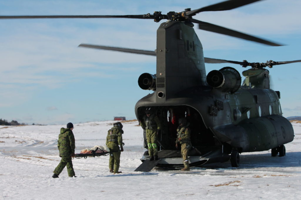 Casualty evacuation was always one of several capabilities to be developed when the Royal Canadian Air Force first took possession of a new fleet of 15 Boeing-built Chinook helicopters in 2015. Sub-Lt Melanie Aqiqi Photo