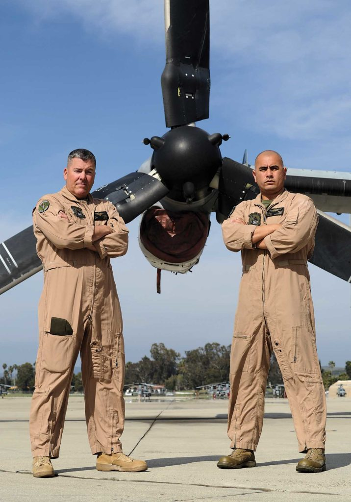 VMM-164 LtCol Widener, left, poses with Sergeant Major Mario A. Aguero. Skip Robinson Photo