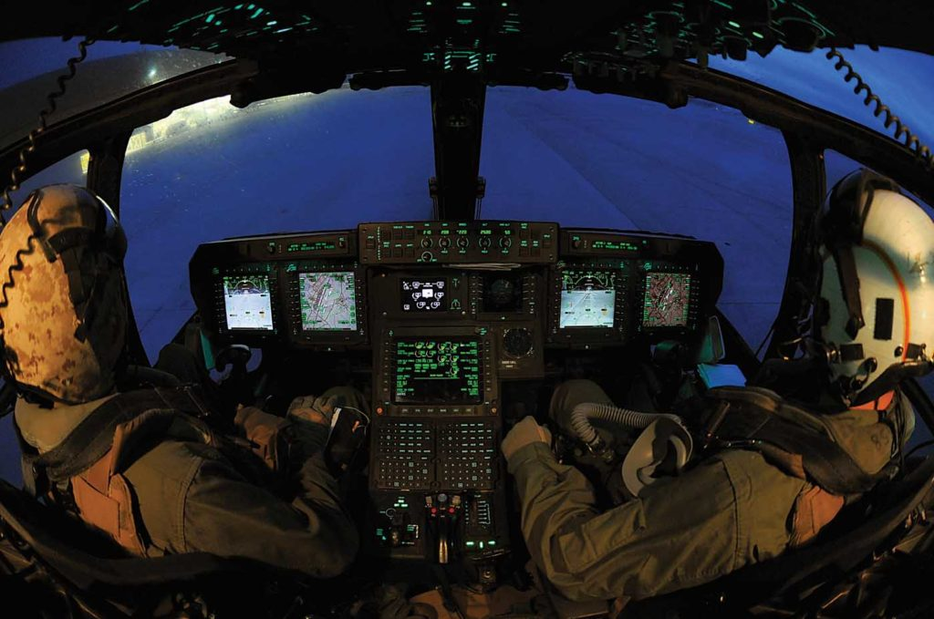 Day and night training is routine for MV-22B flight crews. The aircraft's glass cockpit features four multi-function displays for the pilots. Skip Robinson Photo