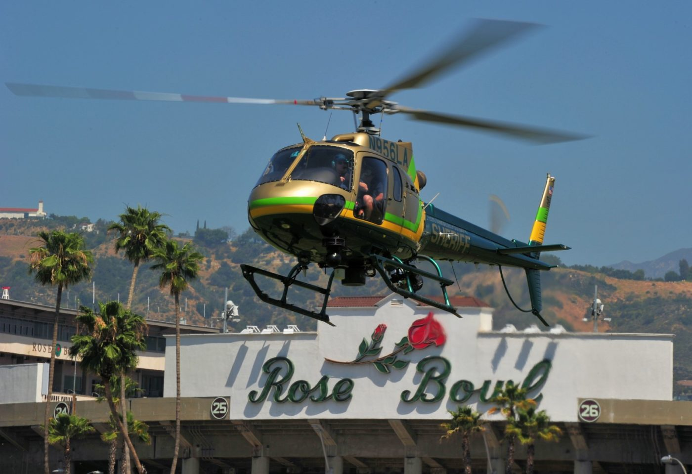 An L.A. County Sheriff's Department AStar arrives at the Rose Bowl.