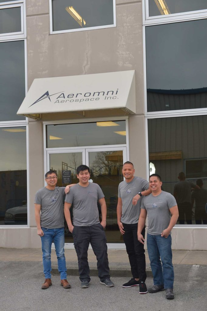 From left, Aeromni's president Wei Lin, avionics installation manager Andy Pang, vice president Rikkert Vos, and quality assurance manager Brian Carandang stand in front of the company's facility in Langley, British Columbia. Charlie Vowles Photo