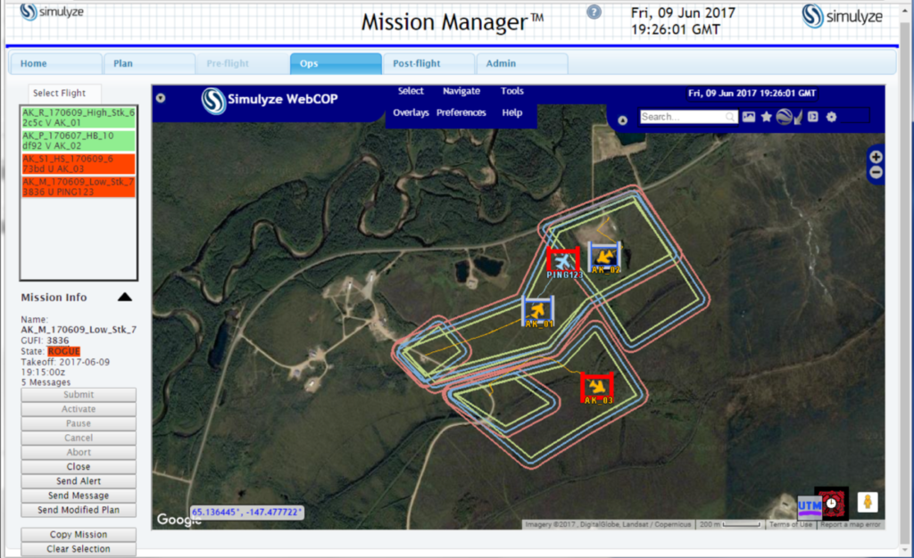 This screenshot from Simulyze's Mission Insight application shows four aircraft flying in close proximity, including BVLOS operations; two of four UAS are shown operating outside of their respective flight volumes, and notification is sent to the violating operator as well to other operators in the area.