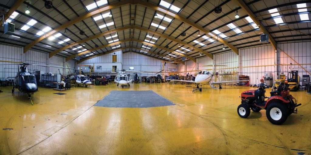 Castle Air's EASA part 145 maintenance facility at the Biggin Hill site. Almost any type of helicopter can now be accommodated for maintenance, management or sale. Lloyd Horgan Photo