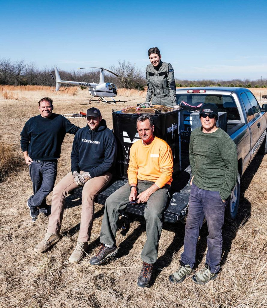 Success! The author in the bed of the pickup, along with (from left) pilot Jim McCourt, instructor pilot Jordan Wilson, Volo Mission co-founder Andre Hutchings, and pilot Greg Bettis. Will Graham Photo