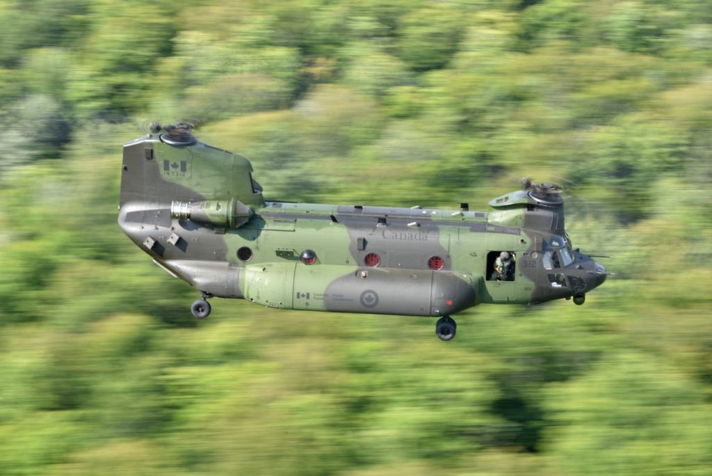 """""""Helicopters are always in high demand, and the ability to evacuate soldiers that have serious injuries quickly . . . is always going to be an in-demand capability. So this is just the continued evolution of the Chinook,"""" said LCol Darryl Adams. Mike Reyno Photo"""