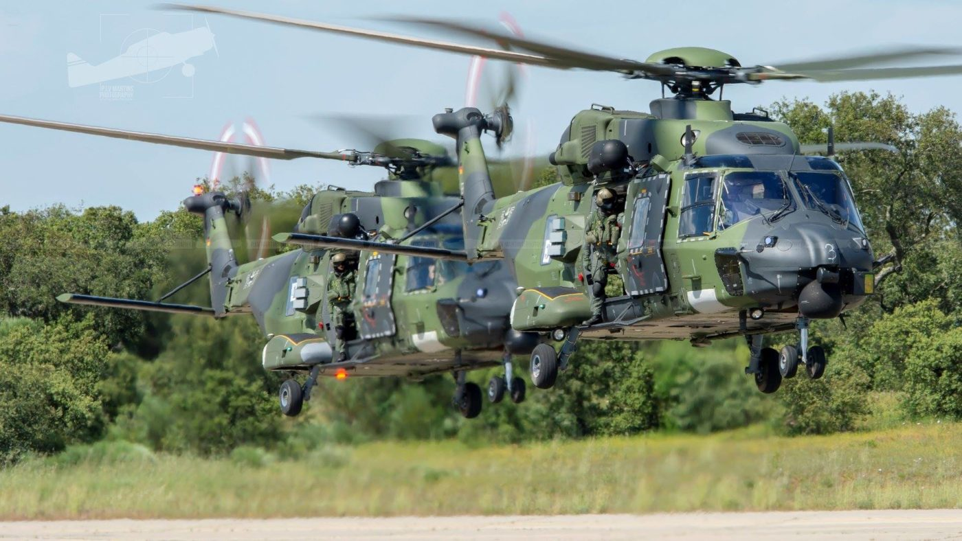 Two NH90 Tactical Transport Helicopters operated by the German Army are spotted in formation. Photo submitted by Paulo Martins