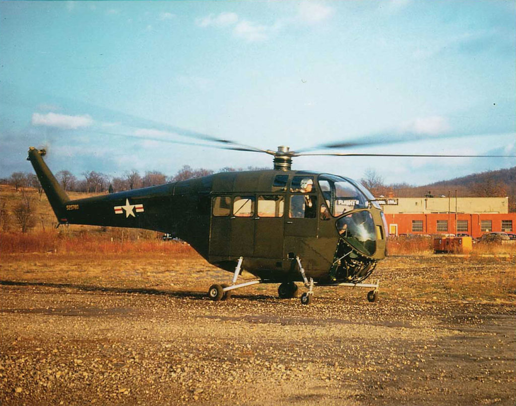 The second Doman LZ-5 helicopter for the U.S. Army running up at Danbury, Connecticut, during an early test flight. Jeff Evans Collection Photo