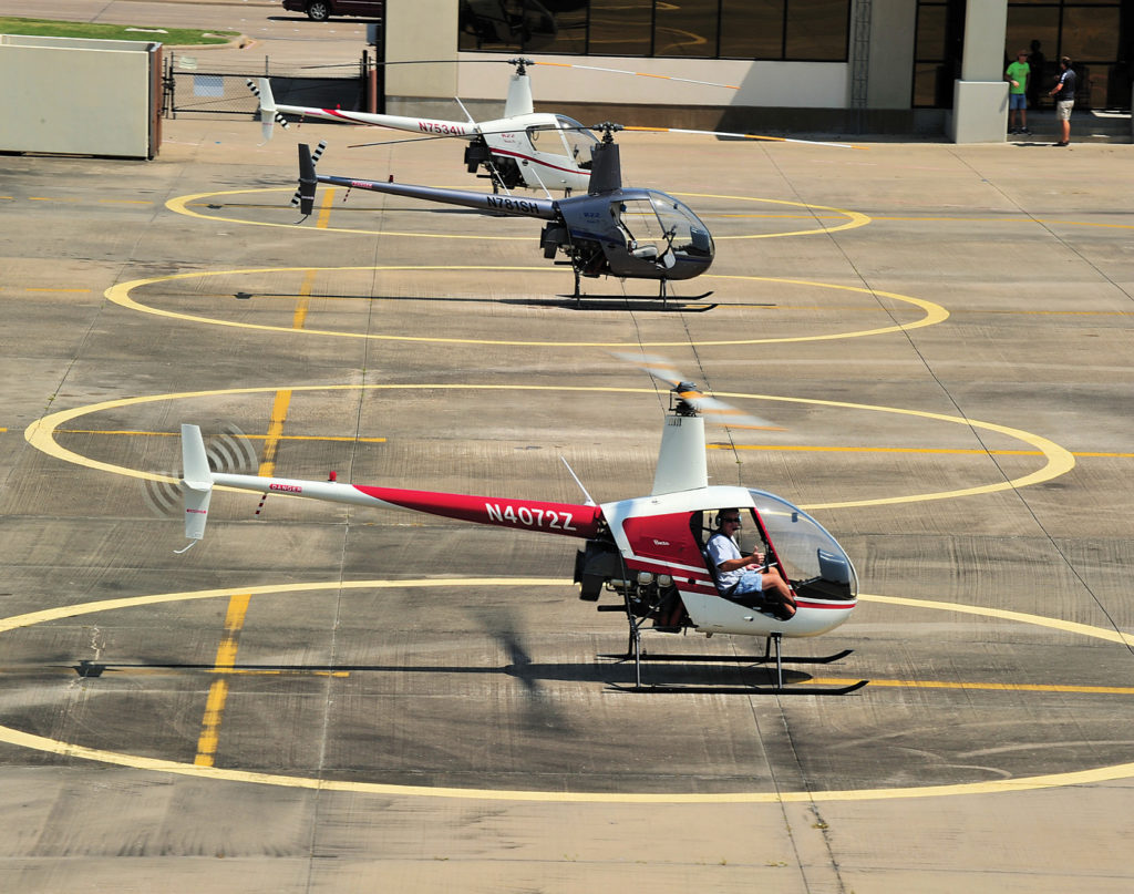 Training flights are a daily occurrence at the busy Garland Heliport. Skip Robinson Photo
