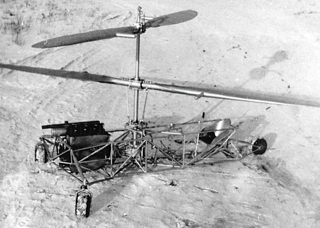 The Froebe helicopter with the original 20-foot counter-rotating metal blades. The metal blades were covered in fabric. Royal Aviation Museum of Western Canada Photo