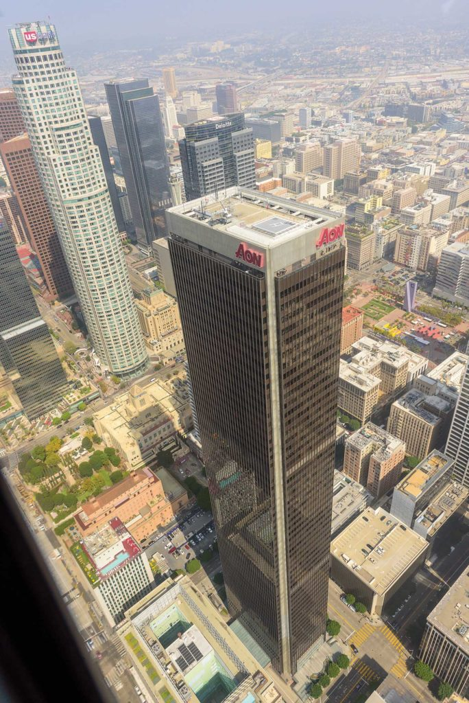 An aerial view of the AON building in downtown L.A., a 62-story skyscraper with an approved helipad on its rooftop. Photo courtesy of Mark Bolanos