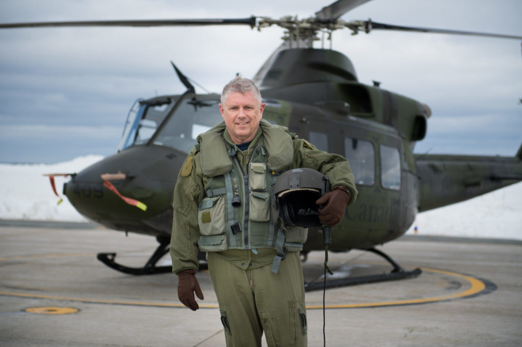LGen Alain Parent, now-retired Vice Chief of Defence Staff (VCDS), visited 403 Squadron for his last flight in a CH-146 Griffon at Canadian Forces Base Gagetown, Oromocto, New Brunswick, on March 16, 2018. Cpl Genevieve Lapointe Photo