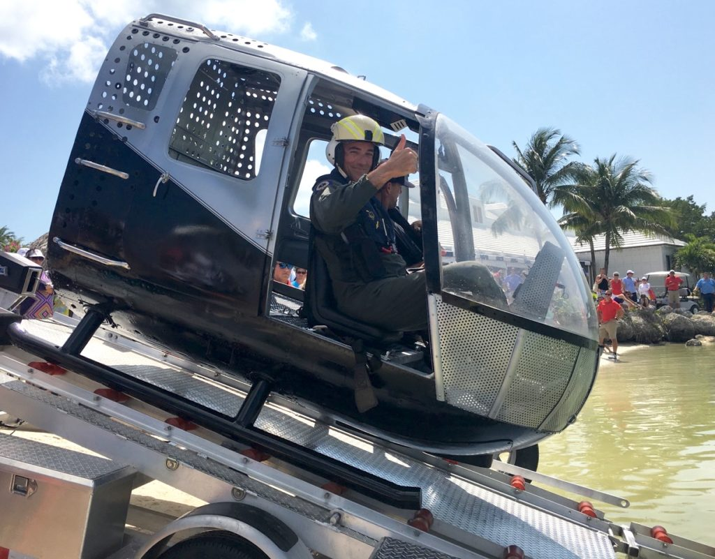 Former Navy SEAL Mic O'Keefe prepares to deploy into an open water pond in Barbara Kaiser's HUET at a Florida Keys demonstration. Barbara Kaiser Photo