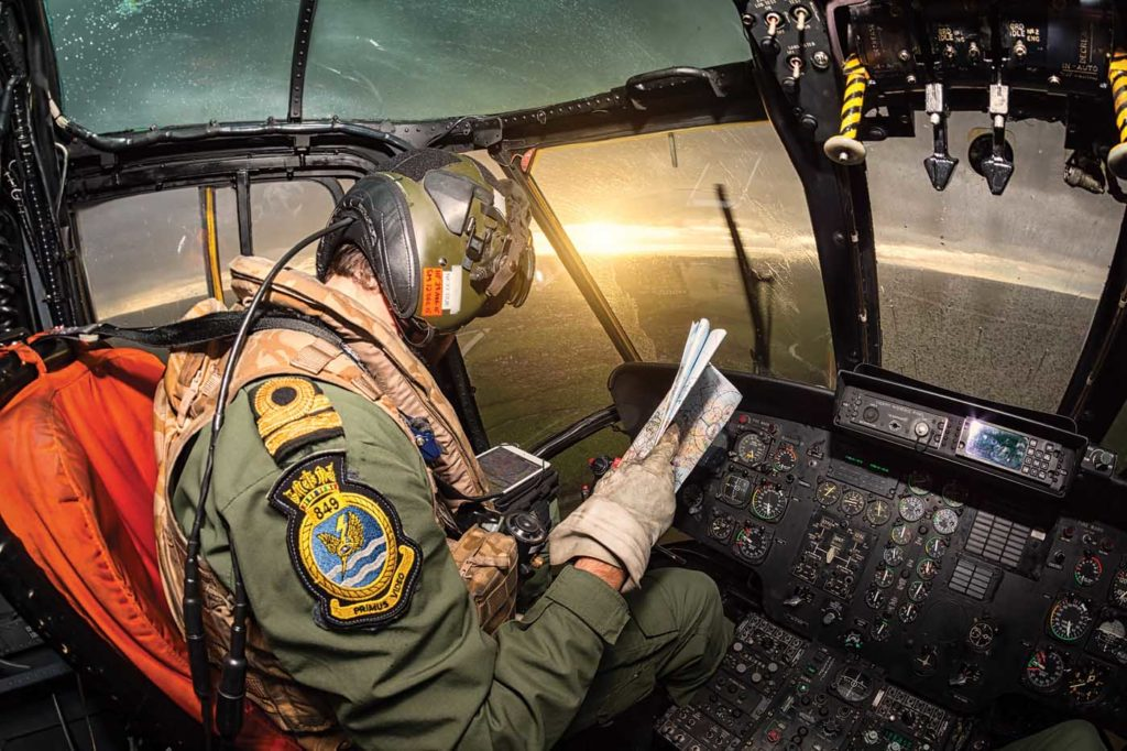 Map or app? A pilot from the Royal Navy's 849 Naval Air Squadron uses the app whilst on a navigational sortie from Cornwall to the Oxfordshire area. Lloyd Horgan Photo