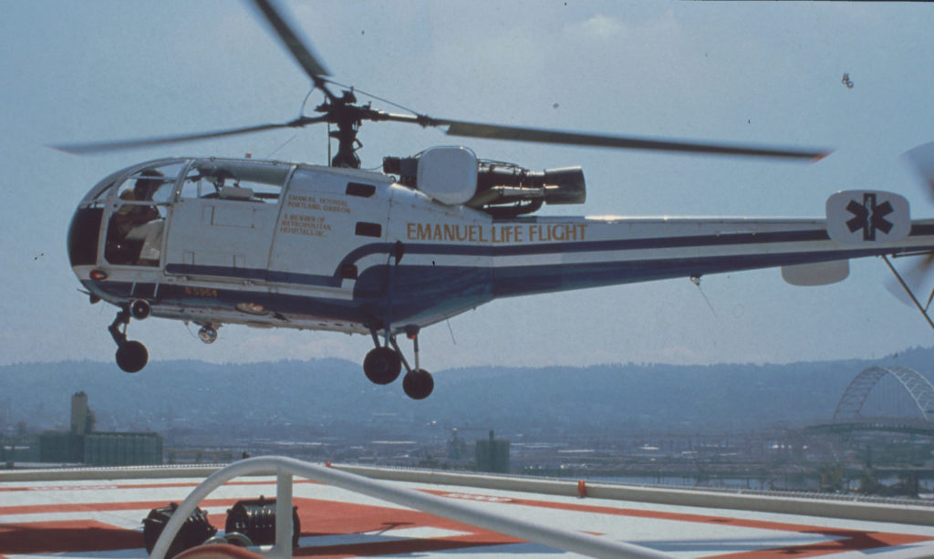 Started in 1978 as Emanuel Life Flight, a French-made Allouette-3 helicopter was the program's inaugural aircraft. Life Flight Photo