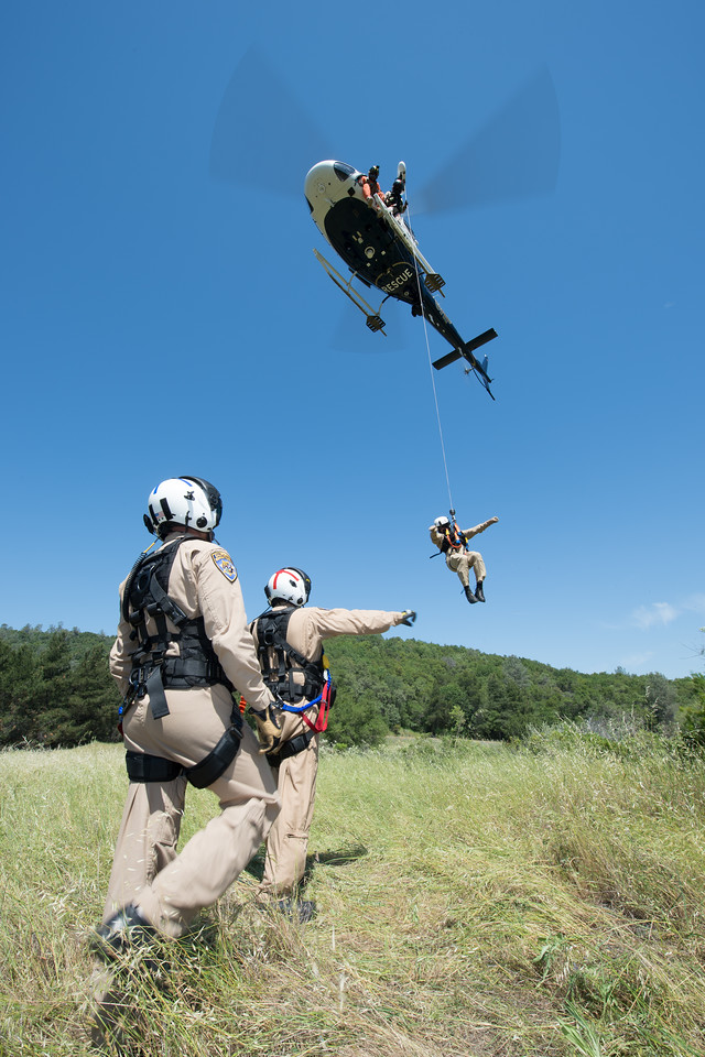 CHP helicopter flight officers are all paramedics. When necessary, CHP can also pull flight officers from the fixed-wing program who are qualified to run the hoist. Dan Megna Photo