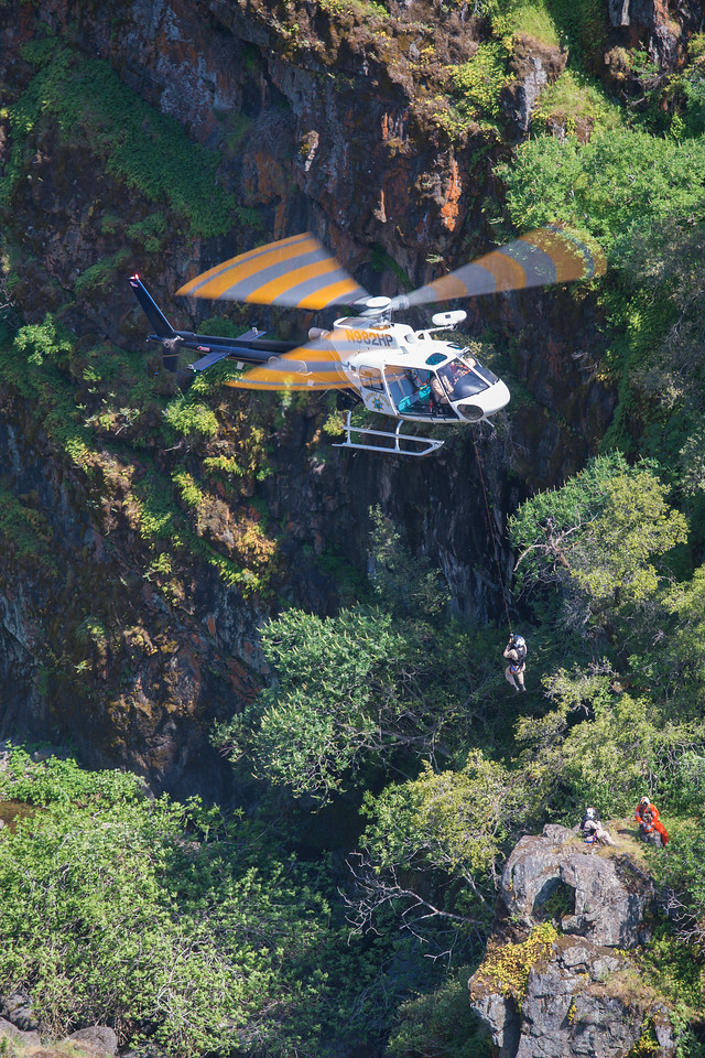 CHP crews must be mindful of center-of-gravitity (CG) limits during rescue operations. According to CHP chief flight officer Larry O'Brien,