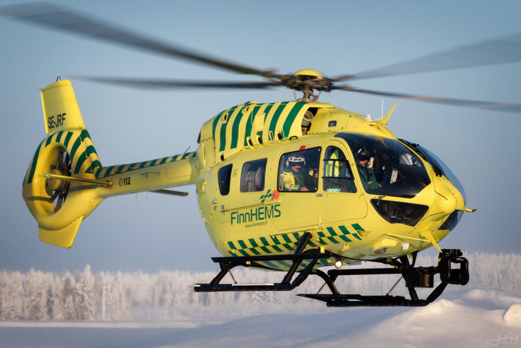 The FinnHEMS Airbus H145 based at the Rovaniemi base is the only one in the world to be fitted with a proprietary 800-kilogram extended-range fuel tank. Lloyd Horgan Photo