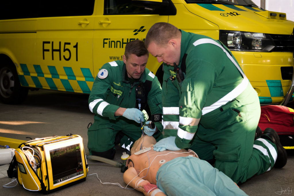 Advanced paramedic Mika Vuorentola manages the airways of the