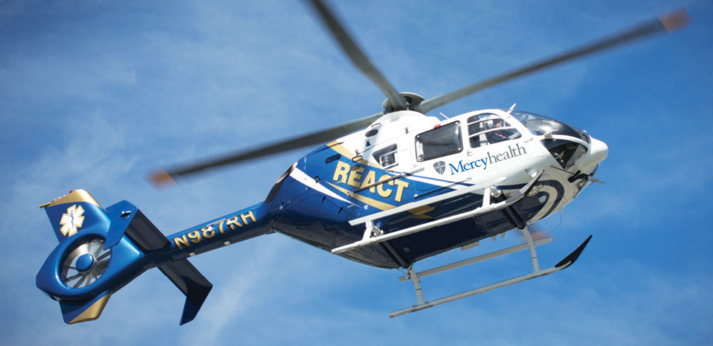 Mercyhealth REACT's new EC145 helicopter will replace its EC135, and will allow the air medical program to expand its HEMS missions. Mercyhealth Photo