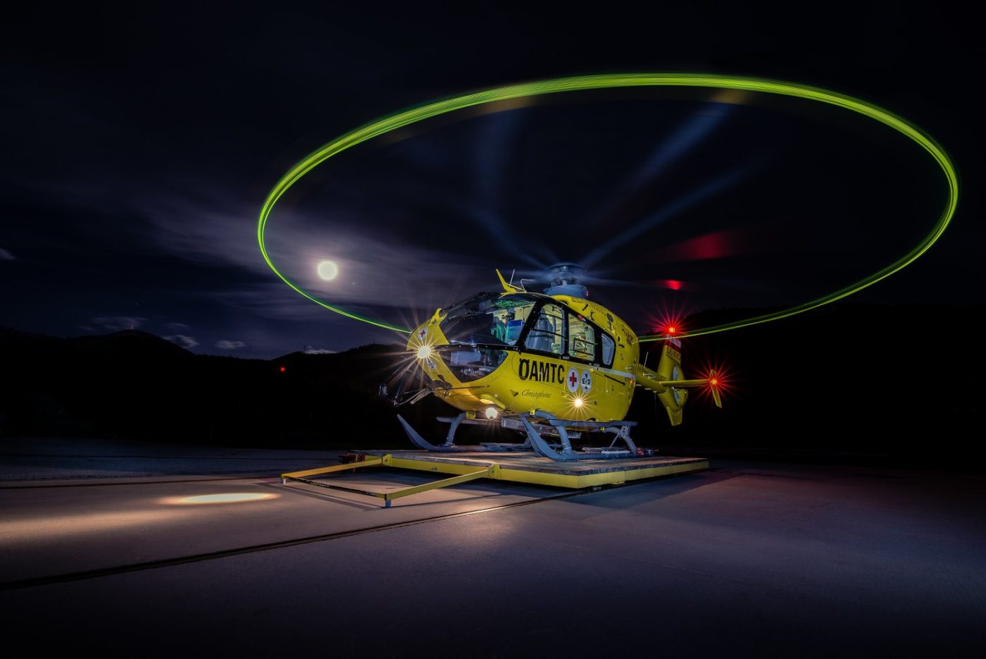 Christophorus 1, an Airbus H135 operated by OAMTC, lights up the night in Innsbruck, Austria. Photo submitted by Jorg Schnell