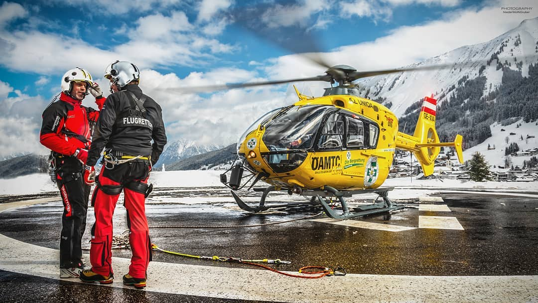 Christophorus 8, an Airbus EC135 operated by OAMTC, sits on a helipad before flight. Photo submitted by Robert Niederwolfsgruber (Instagram user @robert_nwg) using #verticalmag