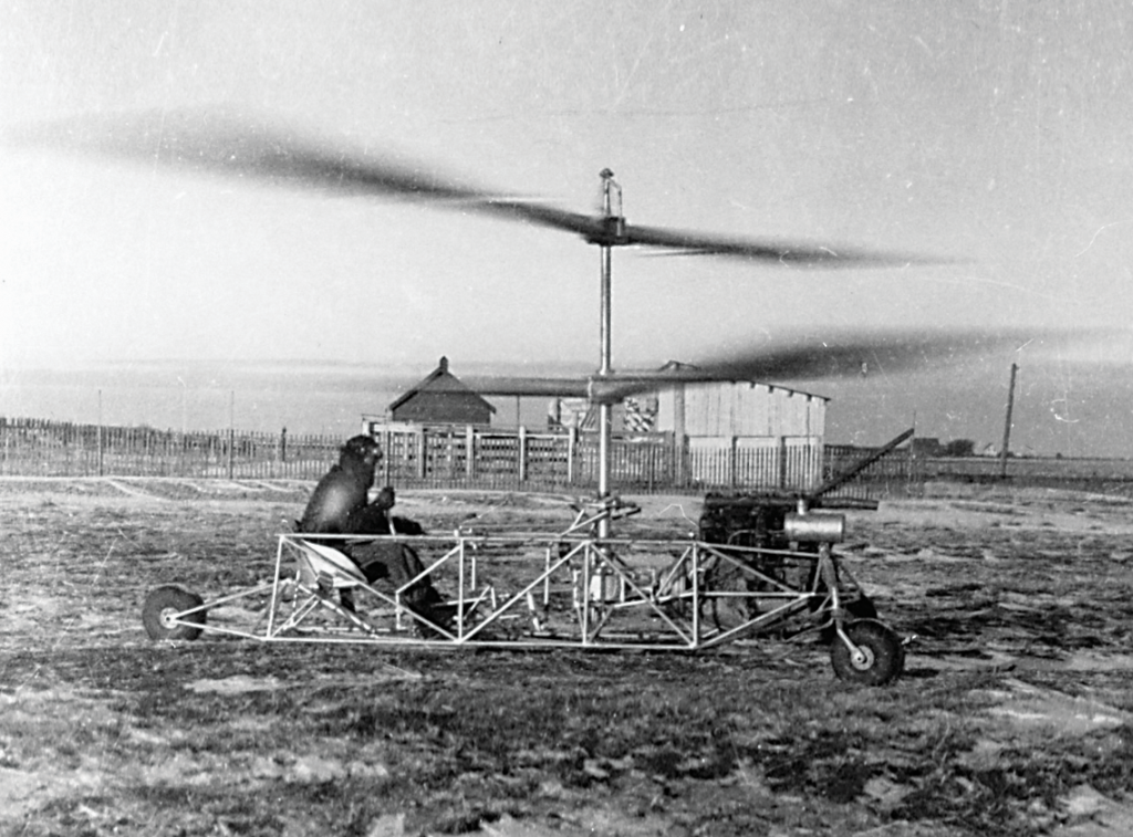 Doug Froebe in the pilot seat during a run-up test of the original Froebe helicopter during the fall of 1938. Royal Aviation Museum of Western Canada Photo
