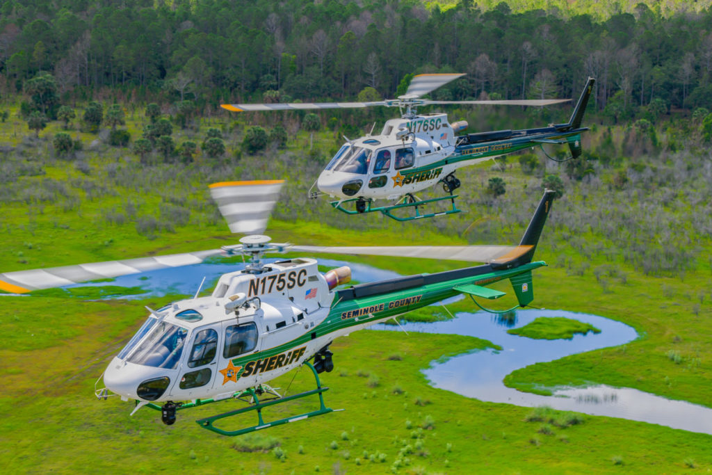 The SCSO Aviation Section currently operates two Airbus H125s, both completed by Metro Aviation. The air unit's newest H125 (front), which it took possession of this year in exchange for its AS350 B3 from 2006, may be one of the most advanced helicopters in the airborne law enforcement field in North America. Mike Reyno Photo