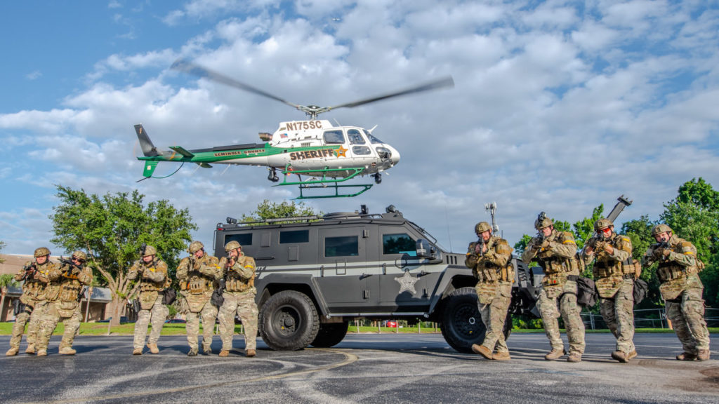 A SCSO H125 hovers behind members of the SWAT team during a training exercise. Mike Reyno Photo