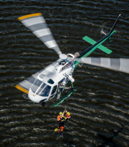 The aircraft's Breeze Eastern rescue hoist is capable of lifting up to 450 pounds on the hook at a time with a 165-foot cable. Crews use the rescue hoist for land and water search-and-rescue missions or medevacs. Mike Reyno Photo