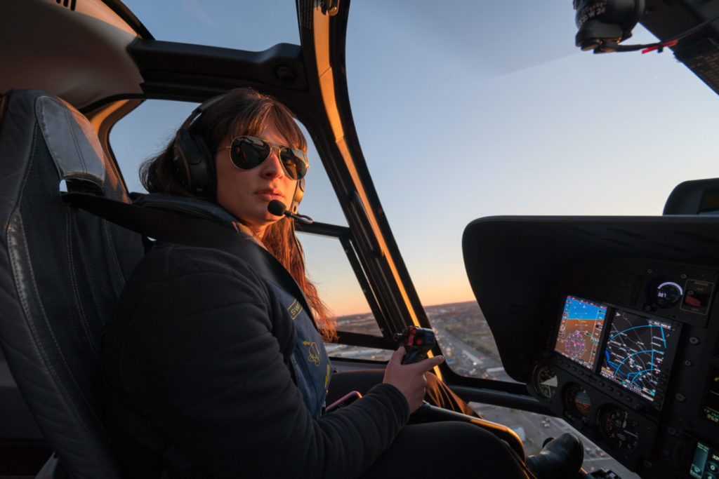 Helicopter Flight Services line pilot Cristina Gonzalez Odriozola flies a Bell 407GX high above Manhattan. Aviatrix Life Photo