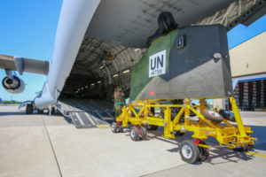 Royal Canadian Air Force crews loaded the first of three CH-147F Chinook heavy lift helicopters pledged to the UN peacekeeping mission in Mali. Steve Bigg Photo