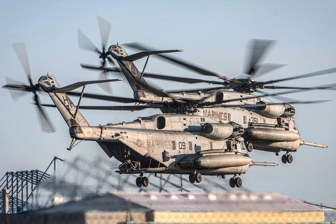 U.S. Marine Corps CH-53 helicopters depart in close formation. Photo submitted by Erik Bruijns (Instagram user @ebruijn) using #verticalmag