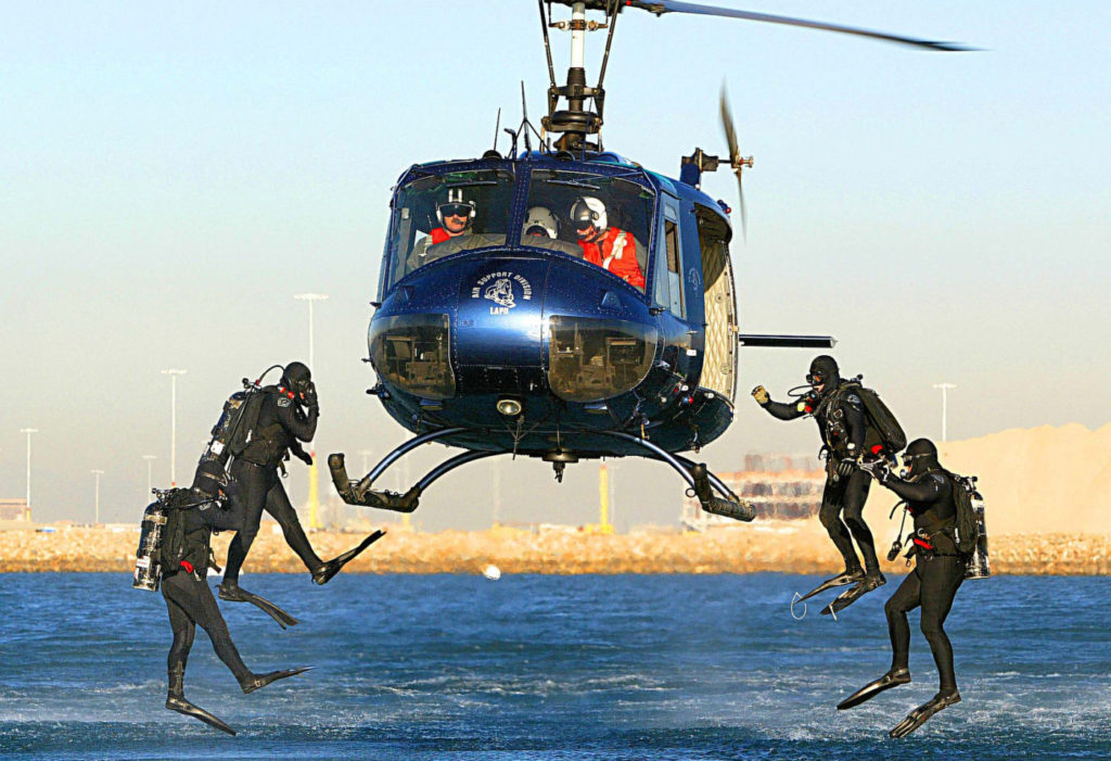 The LAPD occasionally deployed divers when it operated a Bell UH-1. Glenn Grossman Photo
