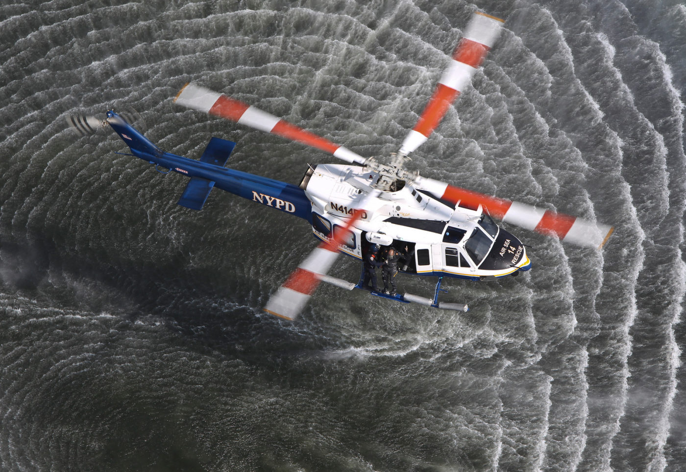 Safely deploying divers from a helicopter demands specialized equipment and procedures. The New York City Police Department Air & Sea Rescue Unit has expertise in diver deployments honed over years of practice. Sheldon Cohen Photo