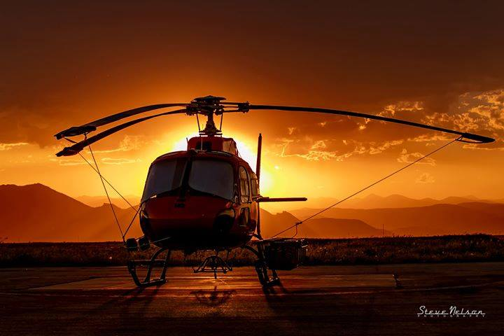 A HeliQwest AStar rests during a Colorado sunset. Photo submitted by Steve Nelson