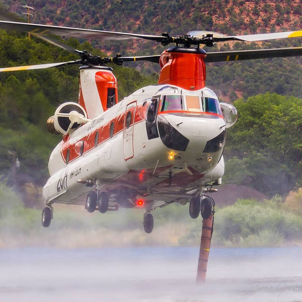 A Columbia Helicopters CH-47D sucks up water to fight the Lake Christine fire in Basalt, Colorado. Photo submitted by Barrie Grant (Instagram user @barrie.grant) using #verticalmag