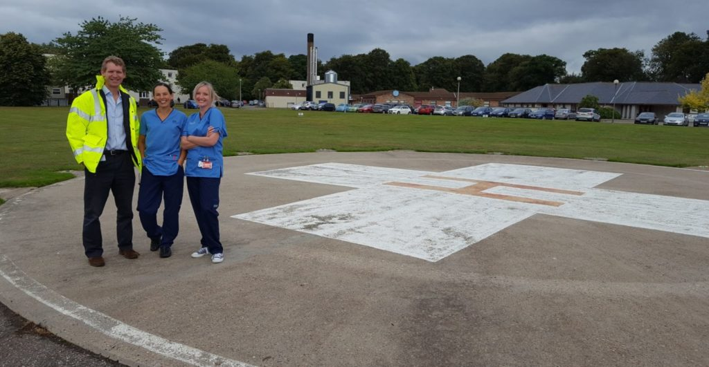 Dr Gary Kerr, consultant in emergency medicine; Sheila Van Lieshout, staff nurse; and Jo MacCulloch, staff nurse at the helipad before the upgrade started. HELP Appeal Photo