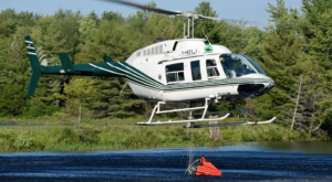 For the North Bay 72 and Parry Sound 33 fires in Ontario, Heli Muskoka's Bell 206L3 Long Ranger acted as a Bird Dog-like aircraft to guide the heavies for bucketing suppression. Mike Reyno Photo