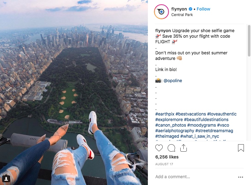 Even after the March 11 accident, shoe selfies are still central to FlyNYON's marketing.